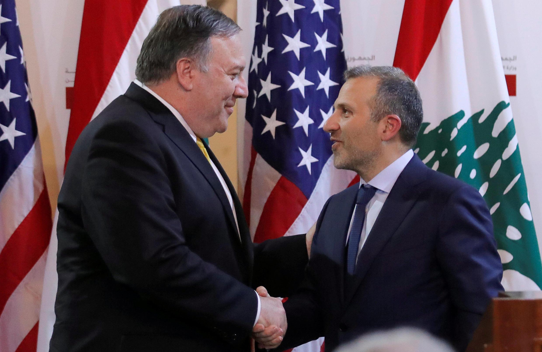مایک پمپئو و جبران باسیل وزرای امور خارجۀ آمریکا و لبنان