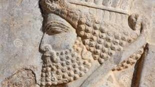 نقش برجستۀ سنگی که صورت نیمرخ یک نگهبان هخامنشی را که بر یکی از پلکان های اصلی تخت جمشید حجاری شده است نشان میدهد