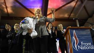 La leader du Front national Marine Le Pen, lors du meeting organisé dans la commune du Pontet dans le Vaucluse, le 17 mars 2015.