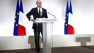 French Prime Minister Jean Castex delivers a press conference on the current French government strategy for the ongoing Covid-19 pandemic in Paris, on March 18, 2021.