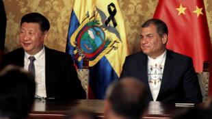 លោក Xi Jinping ប្រធានាធិបតីចិន និងលោកRafael Correa ប្រធានាធិបតីអេក្វាទ័រ នៅក្រុងគីតូសថ្ងៃទី១៧វិច្ឆិកា២០១៦