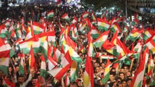 Les Kurdes fêtent la victoire du «oui» au référendum, le 25 septembre 2017.