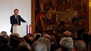Presidente Emmanuel Macron na conferência anual de 27 de agosto no Eliseu dos embaixadores franceses