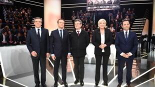 Los candidatos a las presidenciales francesas antes del primer debate televisivo.