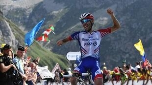 France's Thibaut Pinot wins stage 14 of the the Tour de France cycling race on the Col du Tourmalet, 20 July 2019.