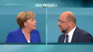 Angela Merkel et Martin Schulz lors du débat télévisé du dimanche 3 septembre 2017.
