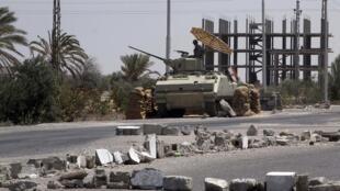 Un point de contrôle dans la ville de Rafah à la frontière égyptienne, le 6 août 2012.