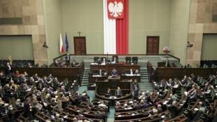 Tranh luận tại Quốc hội Ba Lan về dự luật cải tổ Tòa Bảo Hiến. Ảnh ngày 22/12/2015.