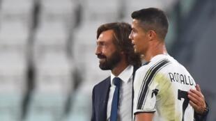 Le coach de la Juventus Andrea Pirlo et Cristiano Ronaldo, lors du match contre Sampdoria, le 20 septembre 2020.