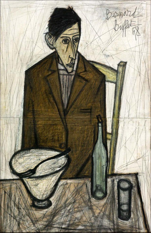 """Bernard Buffet, """"Le Buveur"""". 1948. Huile sur toile. 100 X 65cm"""