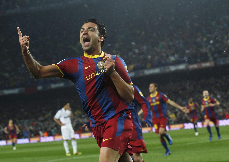 Xavi exulte après avoir ouvert la marque dès la 10e mn pour le Barça.