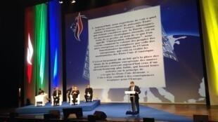 Вице-спикер Госдумы Андрей Исаев выступил на съезде Нацфронта с антиамериканской речью, 29 ноября 2014