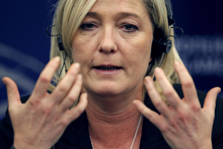 Marine Le Pen, présidente du FN, au Parlement européen, à Strasbourg, en 2012.