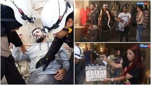 Plusieurs captures d'écran de vidéos affirmant que les casques blancs «mettent en scène de faux sauvetages».