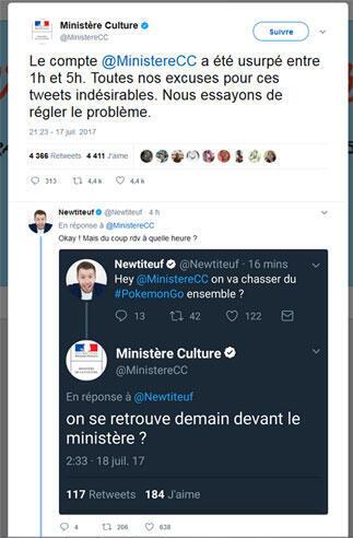 """Pedido de desculpas do Ministério seguido por imagem de um dos tuítes do hacker: """"Nos encontramos em frente ao Ministério para jogar PokemonGo?"""""""