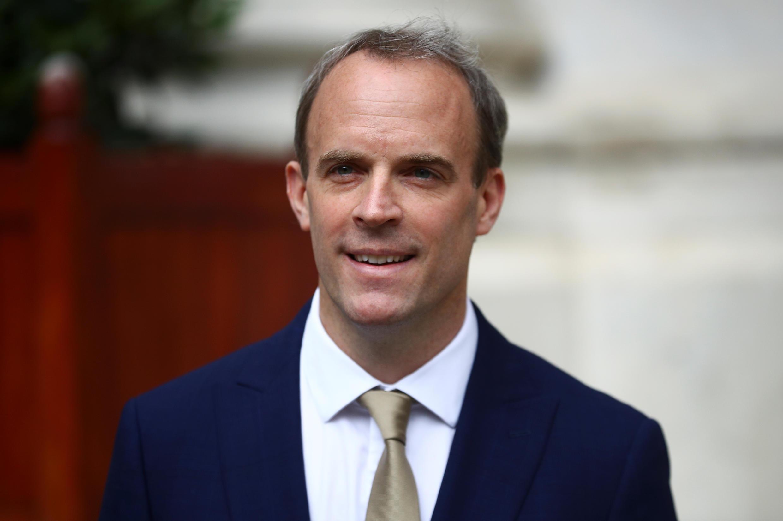 Ngoại trưởng Anh Dominic Raab phát biểu về luật an ninh quốc gia mà Trung Quốc áp đặt ở Hồng Kông, Luân Đôn, ngày 01/07/2020