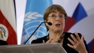 Le bureau du Haut-Commissaire des Nations unies aux droits de l'Homme Michelle Bachelet (ici à San José au Costa Rica, le 3 décembre 2019), a dévoilé une liste de 112 sociétés opérant dans les colonies israéliennes.