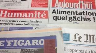 Primeiras páginas dos diários franceses de 7/10/2014