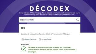Captura de pantalla de una búsqueda con Décodex.