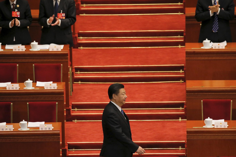 Chủ tịch Trung Quốc Tập Cận Bình đến dự cuộc họp Quốc hội tại Đại sảnh đường Nhân dân ngày 09/03/2016.