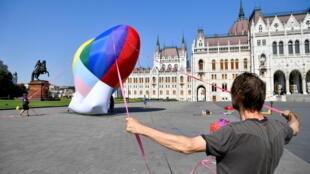 Budapest Hungary Rainbow balloon anti LGBT law