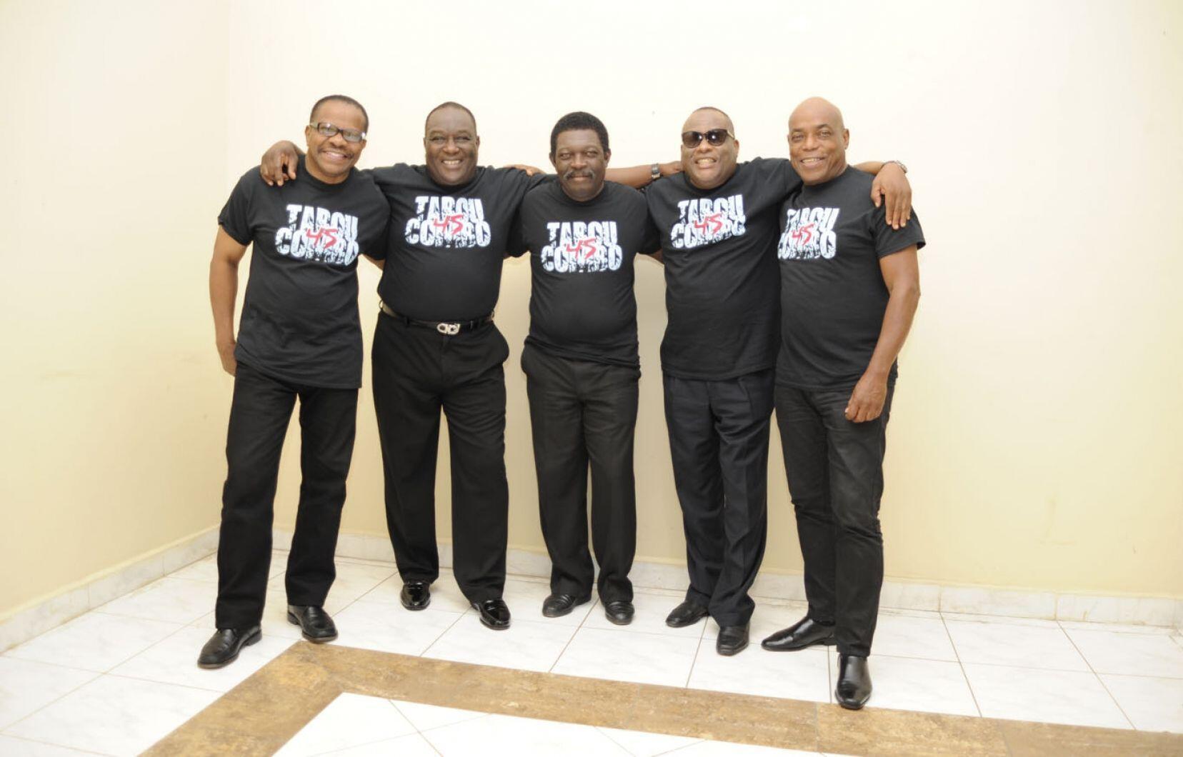 Le groupe de musique haïtien Tabou Combo. Tout à droite se trouve Herman Nau.
