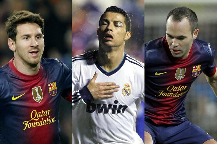 Daga hagu-Lionel Messi, Cristiano Ronaldo da Iniesta
