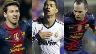 Los tres finalistas al Balón de Oro 2012: Lionel Messi, Cristiano Ronaldo y Andrés Iniesta.