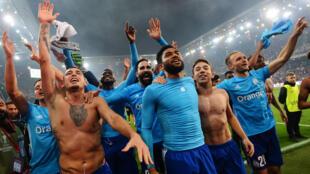 La joie des joueurs marseillais lors de leur qualification en finale de la Ligue Europa face à l'Atlético qu'ils affrontent ce soir.