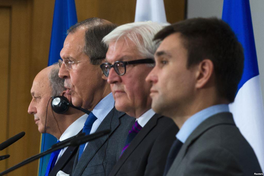 Министры внутренних дел стран «Нормандской четверки» на встрече в Берлине 2 июля 2014 года.