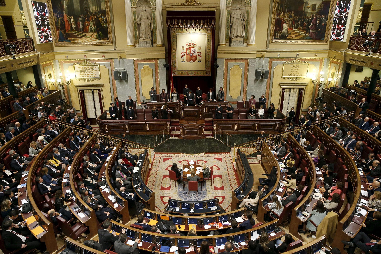 Une vue de hémicycle du Parlement espagnol à Madrid.