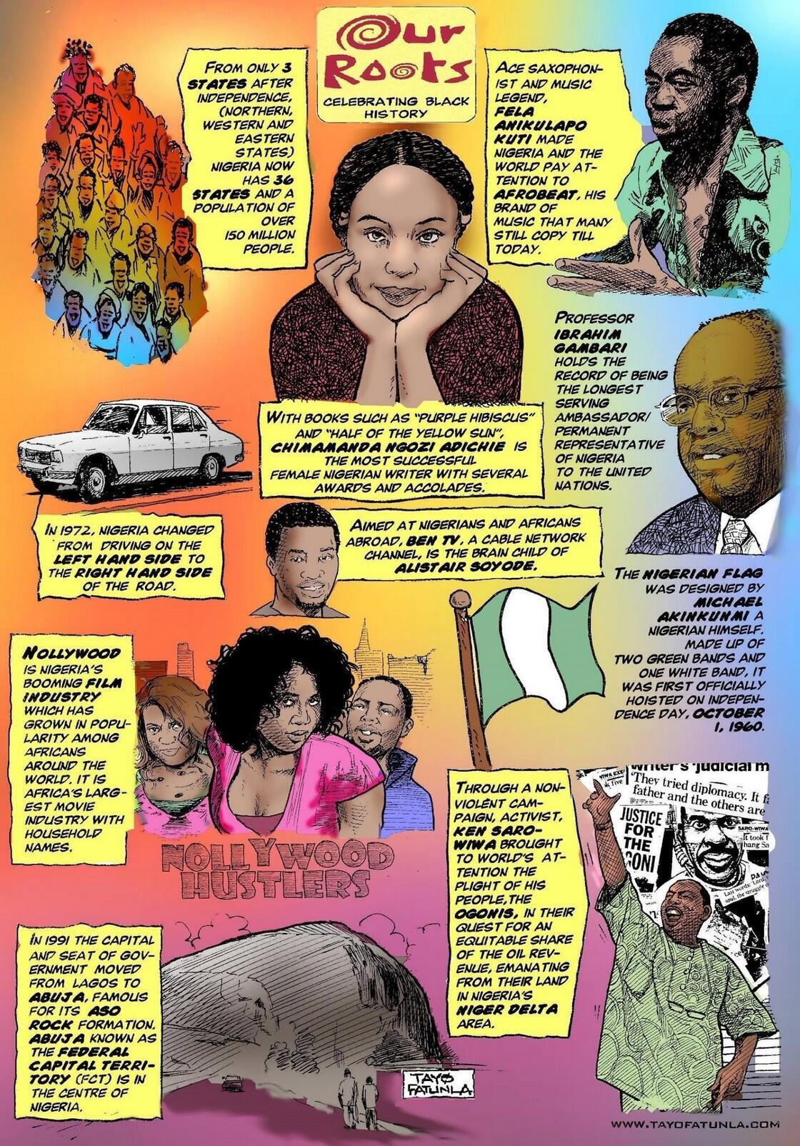 Comic panel by Nigerian artist Tayo Fatunla whose book, Our Roots, earned him the Pioneer Lifetime Achievement (PLA) U.S Award, for his contribution to black history.