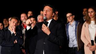 L'ancien Premier ministre italien Matteo Renzi après sa réélection à la tête du Parti démocratique, à Rome le 30 avril 2017.