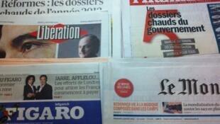 Primeiras páginas diários franceses 3/1/2013