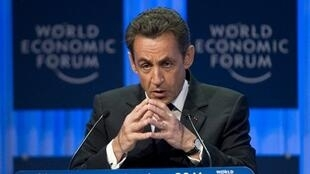 Le président français Nicolas Sarkozy au Forum économique mondial de Davos, le 27 janvier 2011.