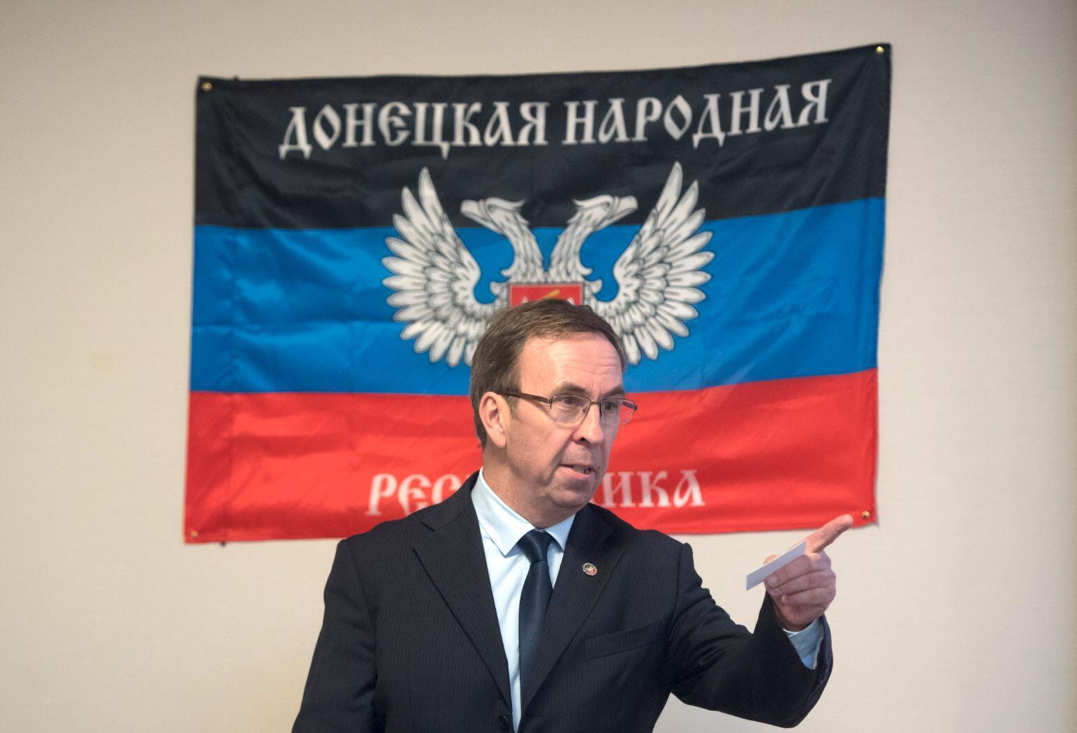 Бывший депутат от крайне правых Юбер Файяр на открытии «представительства» ДНР в Марселе, сентябрь 2017 г.