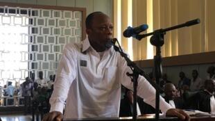 Aliyekuwa mgombe urais, Jenerali mstaafu Jean-Marie Michel Mokoko, wakati wa kesi yake ikianza kusikilizwaa, Mei 7, 2018.