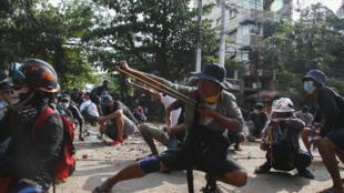 緬甸抗議者 2021年3月28日