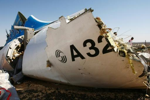 A piece of the Airbus 321 cabin that crashed in Egypt's Sinai province, November 1 2015