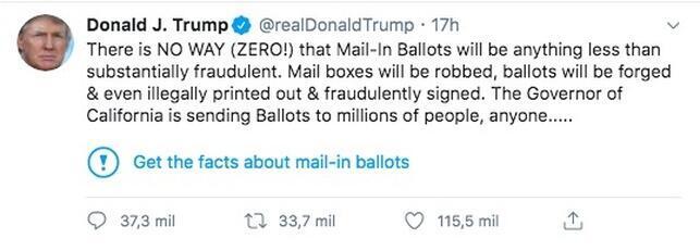 Twitter colocó una advertencia a los lectores sobre el tuit de Trump.