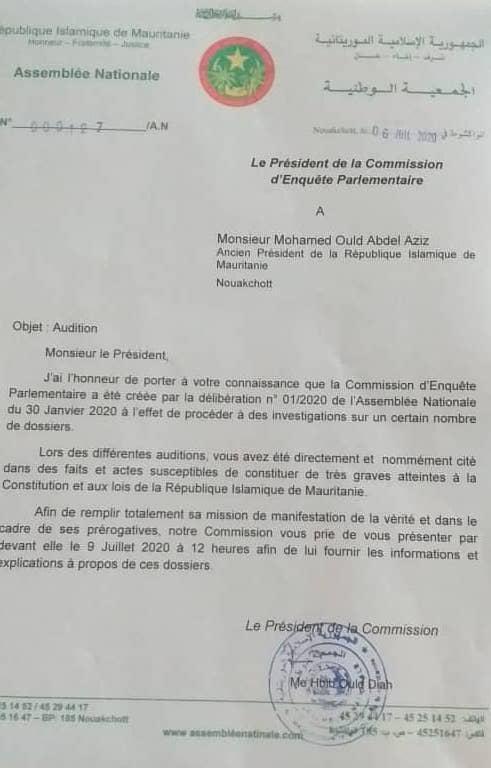 La lettre de Habib Ould Diah président de la commission d'enquête parlementaire.