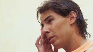 Rafael Nadal concedeu entrevista coletiva para falar de sua contusão em Palma de Mallorca, na Espanha, em 17 de agosto de 2012.
