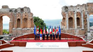 Chefes de Estado e de governo do G7, em Taormina na Sicília.26.05.2017