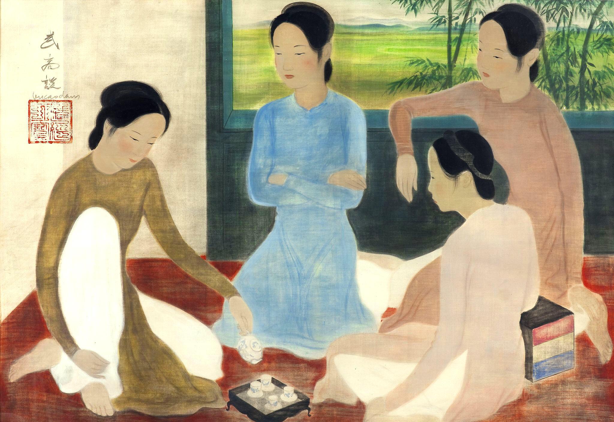 Thiếu nữ uống trà, bức tranh lụa được họa sĩ Vũ Cao Đàm vẽ vào khoảng 1935 (Bộ sưu tập tư nhân) DR