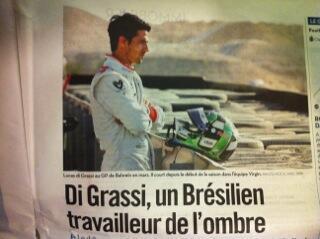 O piloto brasileiro Lucas Di Grassi, que estreia na F1, é reportagem do Libération