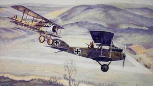 Le capitaine français Georges Guynemer abat un Albatros allemand C-3. Peinture, Charles H. Hubbell, 1917.