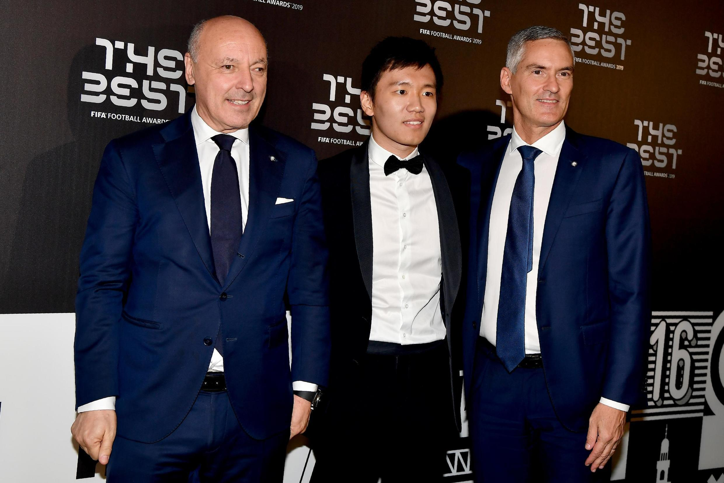 Inter Milan chairman Steven Zhang (centre) flanked by club executives Giuseppe Marotta (left) and Alessandro Antonello, lambasted the Italian league president over the rescheduling of matches since the new coronavirus spread into Italy.