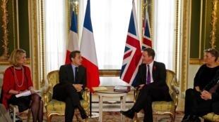 British Prime Minister David Cameron and French President Nicolas Sarkozy in London