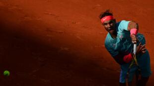 L'Espagnol Rafael Nadal  face à l'Argentin  Diego Schwartzman en demi-finale de Roland-Garros, le 9 octobre 2020