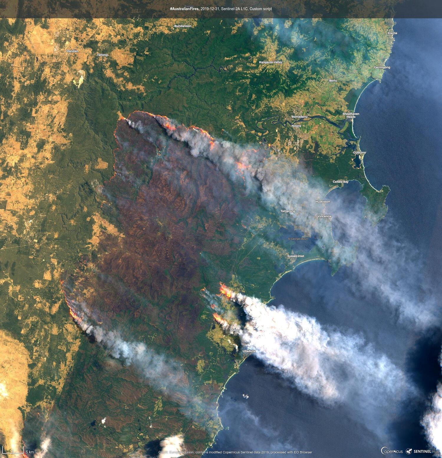Vista satélite dos fogos na Austrália, 31 de Dezembro do 2019.